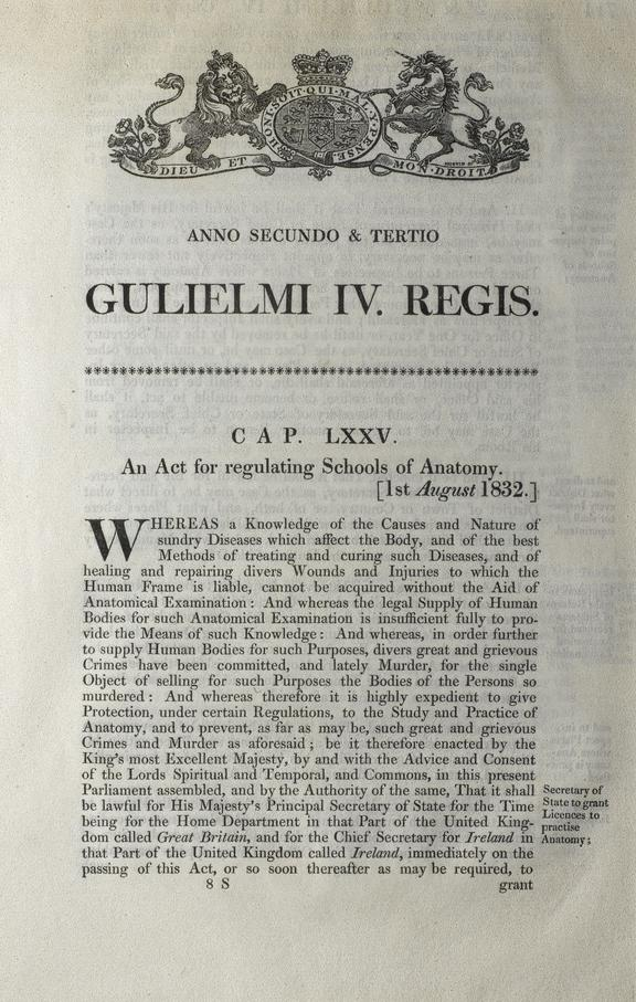 Pamphlet: An Act of regulating Schools of Anatomy. Photographed in situ, on display in Upper Wellcome Gallery of the