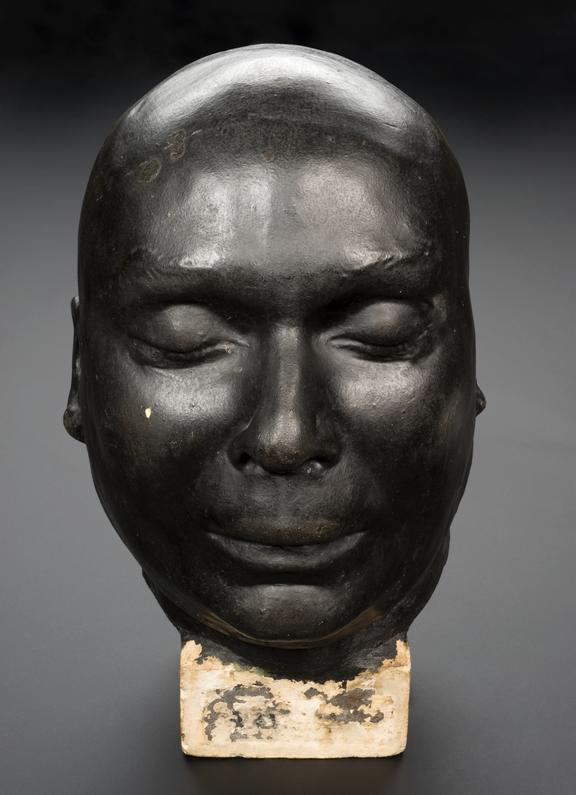 Painted plaster death mask of J.B. Rush, the notorious 'Killer in the Fog', probably part of a set of phrenological