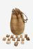 Bag with objects for divination. Africa, 1880-1920. Front view, white background.