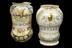 Left hand side - A42493, Tin-glazed earthenware albarello, polychrome, possibly Castel Durante, Italian, 1620. Right