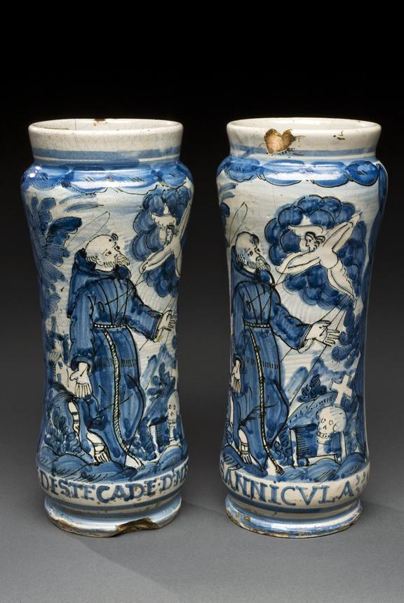 Left hand side - A42624, Albarello vase, 18th century Italian, blue and white maiolica, scene of monk with vision of