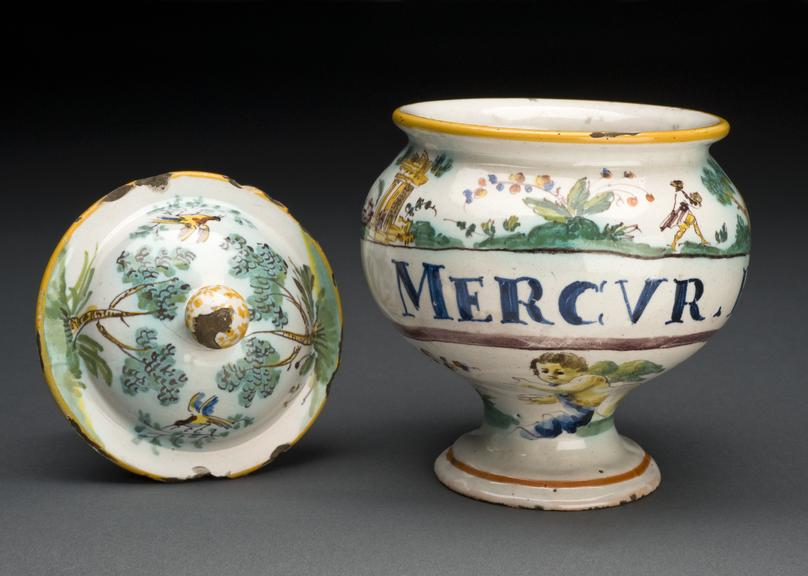French ointment jar, c18, polychrome unaiolica decorated with ruins and figures, for mercury pills. Lid seperate from