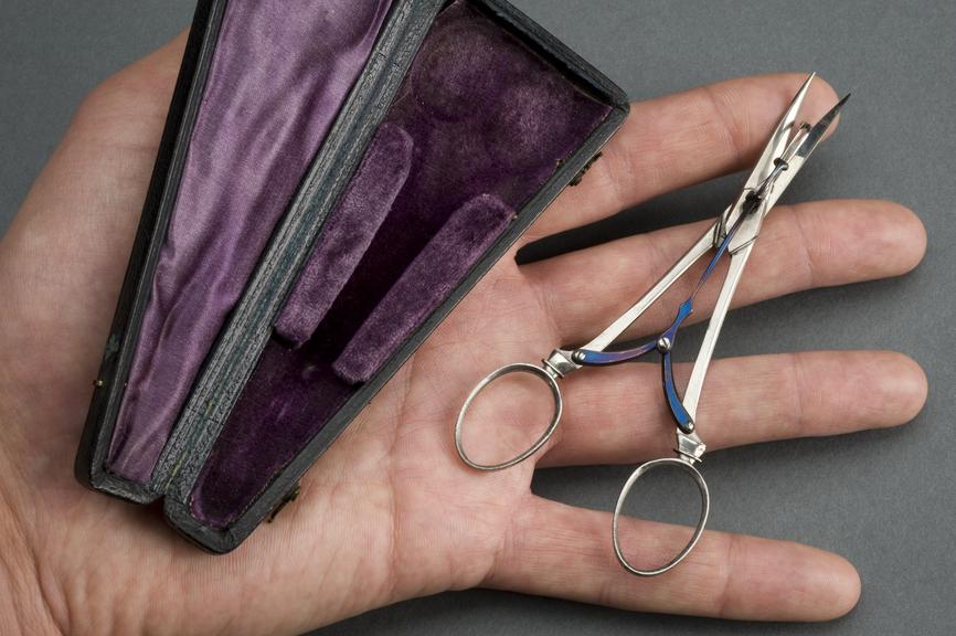 Skin grafting scissors, in case, c.1900. Photographed on hand, grey background.