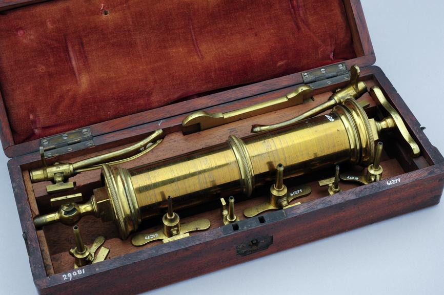 Anatomical syringe set in case, first half 19th century, by Savigny and Co.,  60 & 61 St James St., London, English.