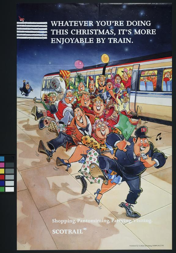 """Scotrail Poster, """"Whatever you're doing this Christmas, it's more enjoyable by train"""", 1992"""