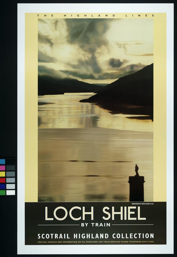 "Scot Rail Poster, ""The Highland Lines - Loch Shiel by Train"". Brendan Neiland R.A."