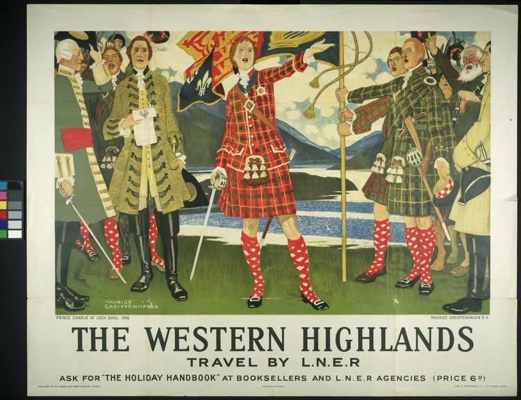 """London & North Eastern Railway poster. """"The Western Highlands"""" - Prince Charlie at Loch Shiel 1745"""