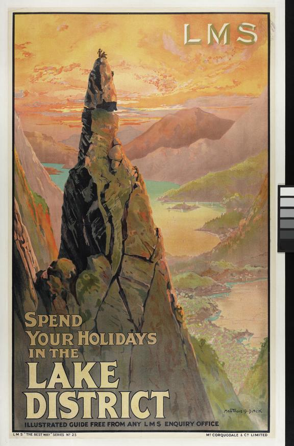 """LMS Railways poster, """"Spend Your Holidays in the Lake District"""" by Montague B Black"""
