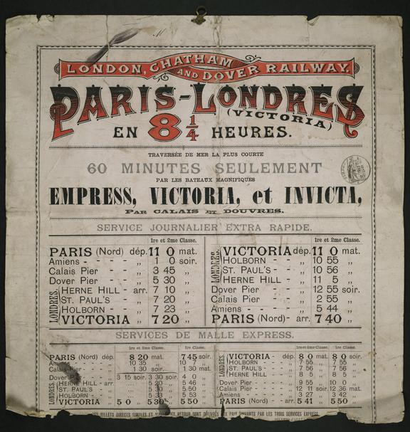 "London Chatham & Dover Railway ""Paris - Londres"" poster showing timetable"