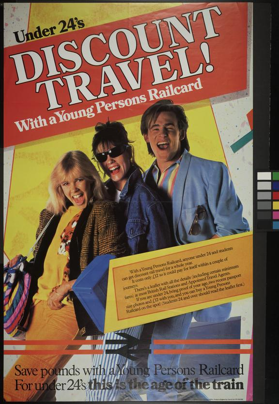 """BR Poster. """"Under 24's Discount Travel! With a Young Persons Railcard"""""""