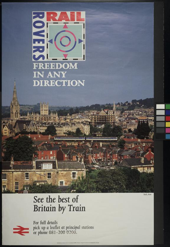 """BRB Intercity Railrover Poster. """"Freedom in Any Direction"""", Bath, 1990"""