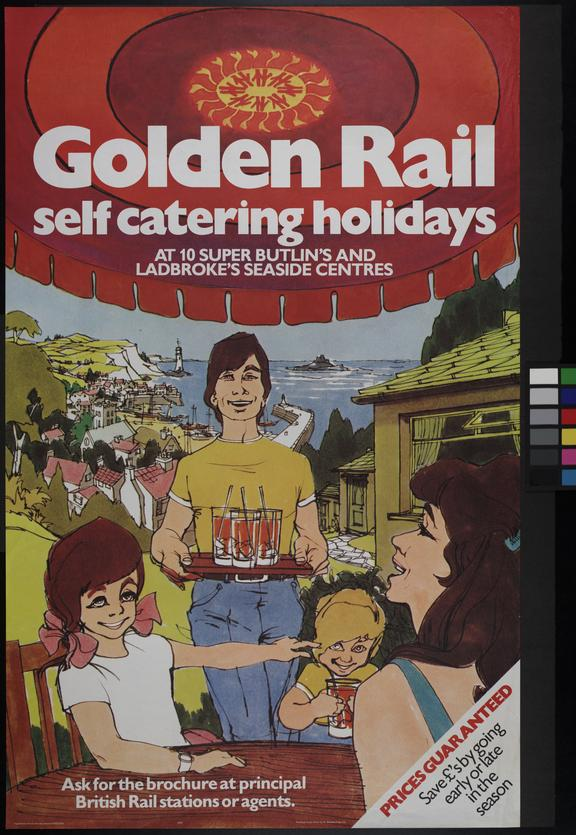"""BR poster. """"Golden Rail self catering holidays"""" 1978"""