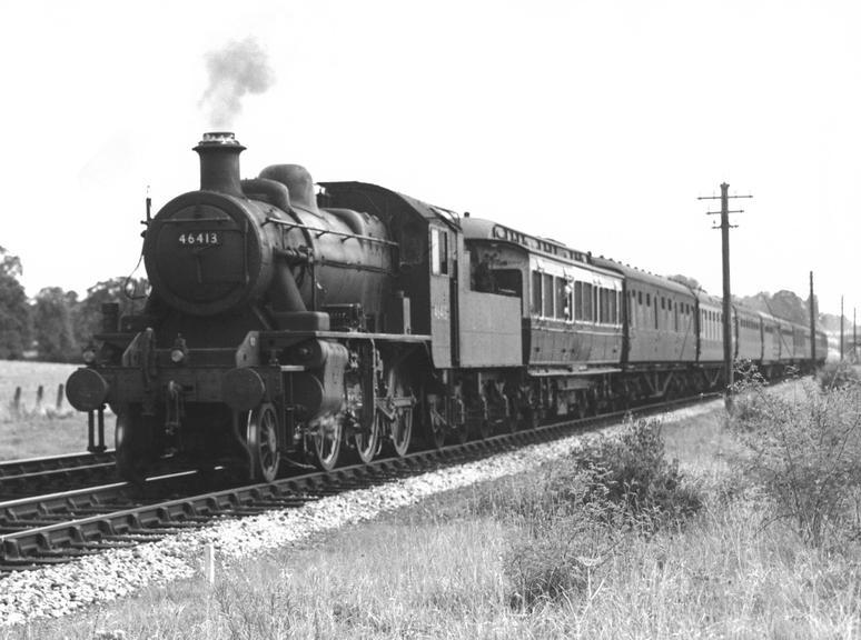 Locomotive no. 46413 2-6-0 Class 2 on a test train