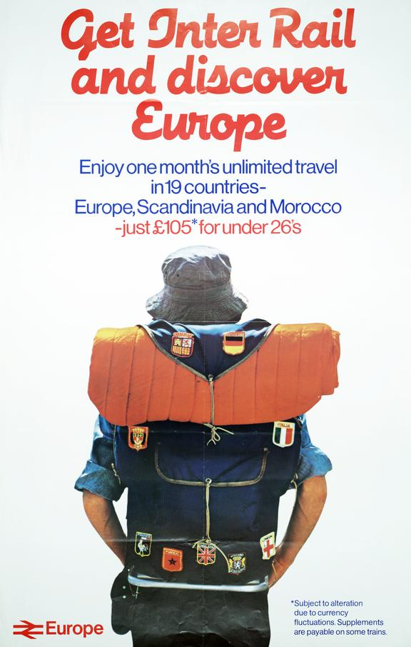 BR poster. 'Get Inter Rail and Discover Europe - Enjoy One Month's Unlimited Travel in 19 Countries.