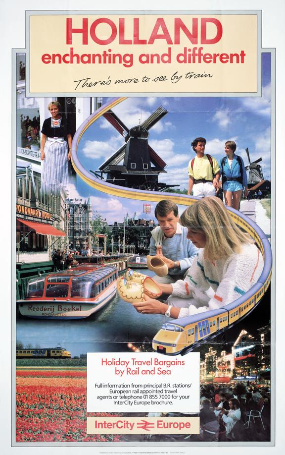BR (CAS) poster. InterCity/Europe. 'Holland - Enchanting and Different', 1987.