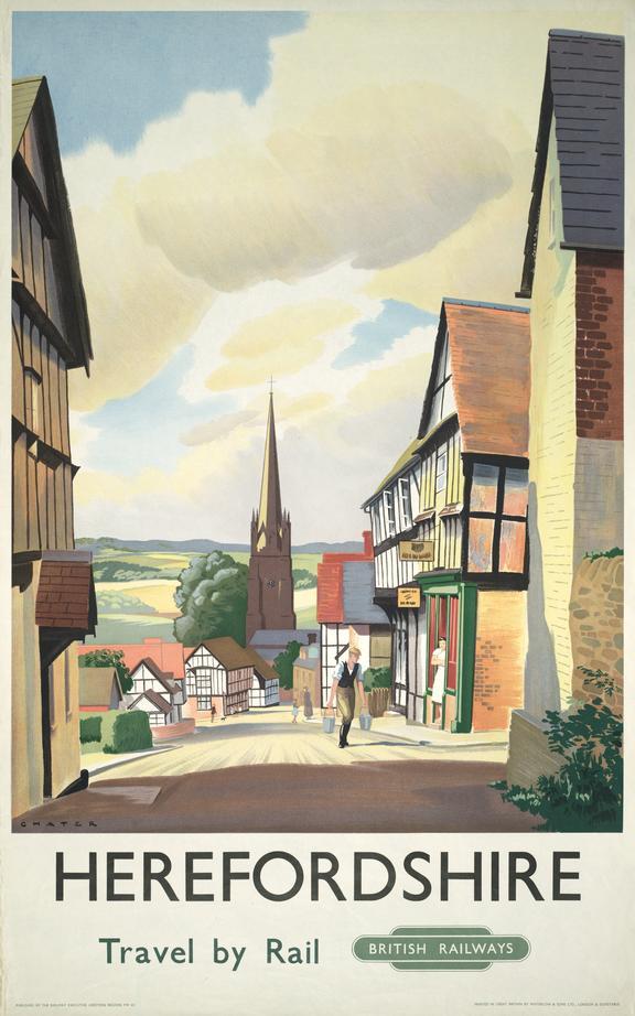 Poster, British Railways (Western Region)       Herefordshire Travel by Rail, Ledbury, by Paul Chater.