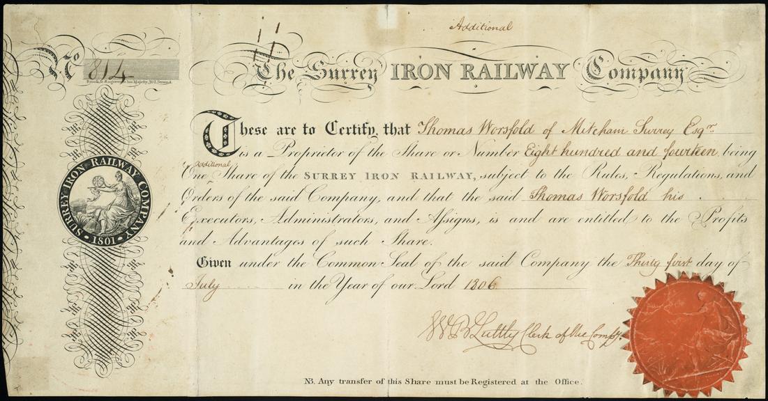 Share Certificate The Surrey Iron Railway Company, 1806