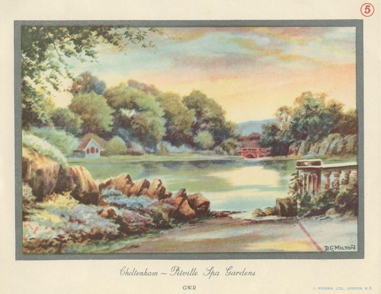 Carriage print, Great Western Railway, Pitville Spa Gardens, Cheltenham, by Milton, 1907.