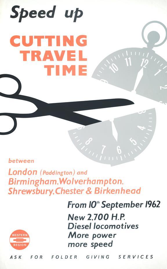 Poster, British Raiways Western region, Speed Up Cutting Travel Time.