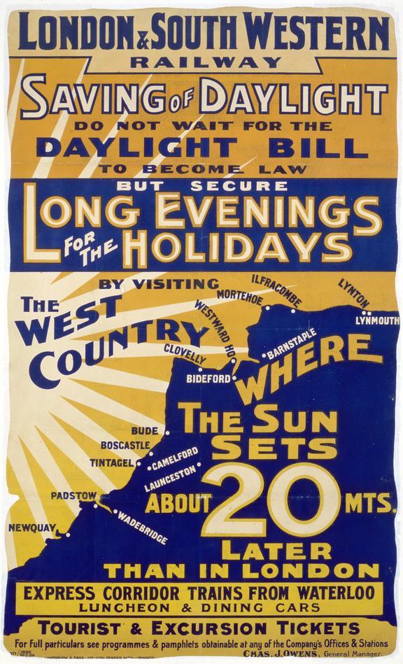 Poster, London & South Western Railway, 'Saving of Daylight'
