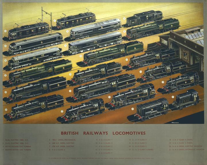 Poster, BR. 'British Railways Locomotives' by A N Wolstenholme, c1960 by A N Wolstenholme.