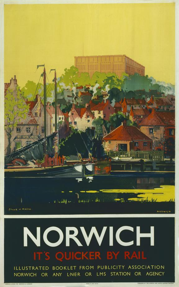 Poster, LNER, 'Norwich - It's Quicker by Rail', by Frank Mason