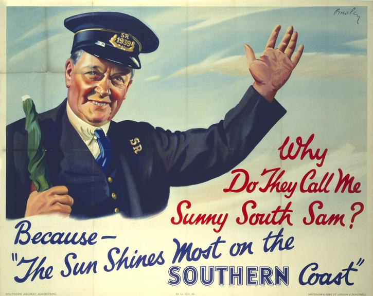 Poster, SR, 'Why do they call me Sunny South Sam?' by William Ramsden Brealey, 1939