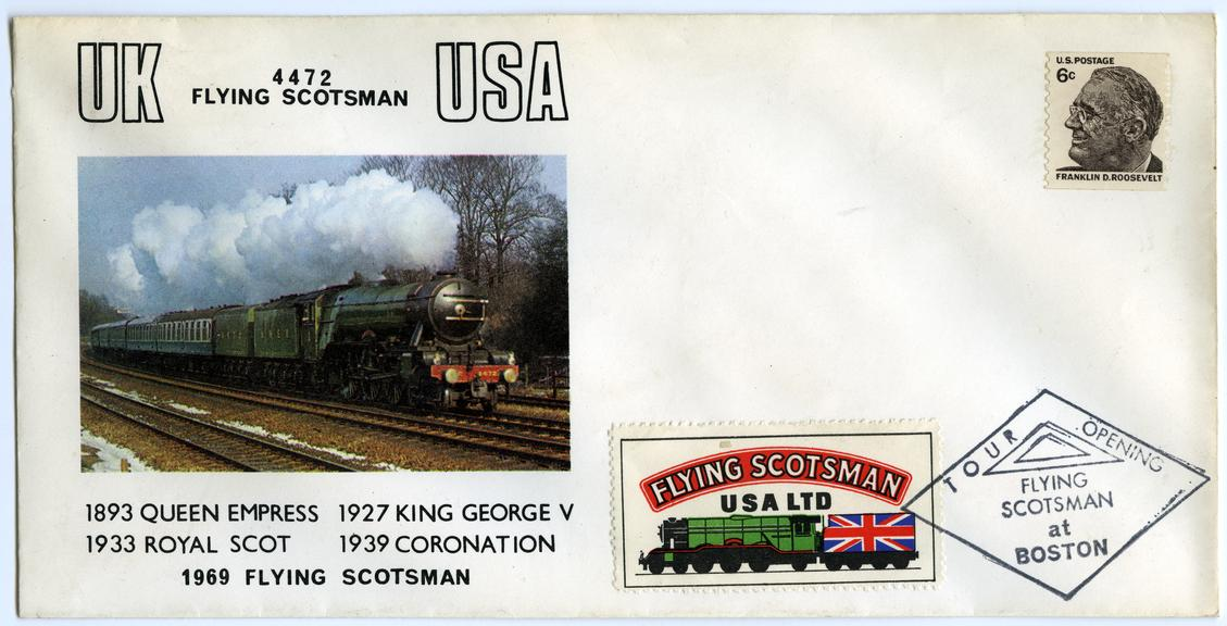 Flying Scotsman Commemorative Cover. USA. 1969. Roosevelt stamp.