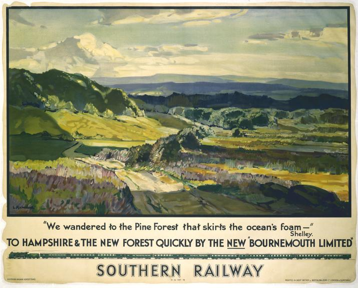 """Poster, Southern Railway, 'To Hampshire and the New Forest Quickly by the New """"Bournemouth Limited""""'"""