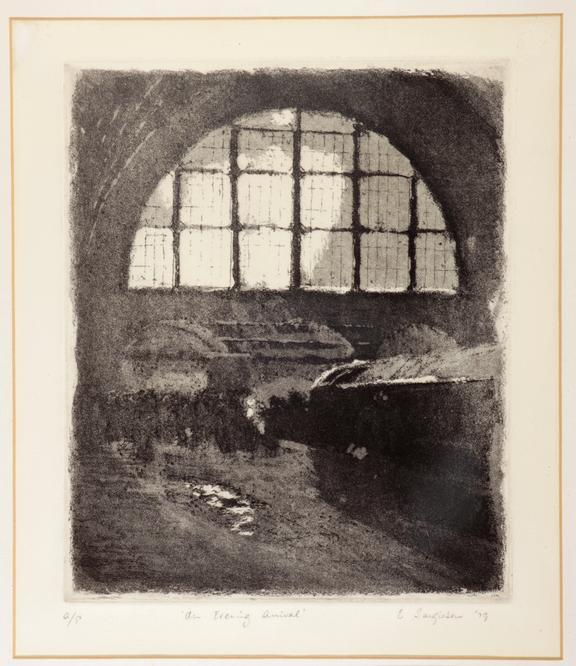 E. Sargieson aquatint - An Evening Arrival - 1979.