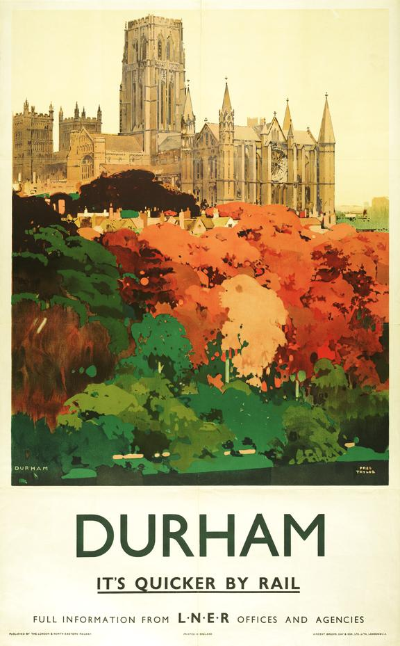 Poster, London & North Eastern Railway, 'Durham' . Poster shows trees in the foreground and Durham C