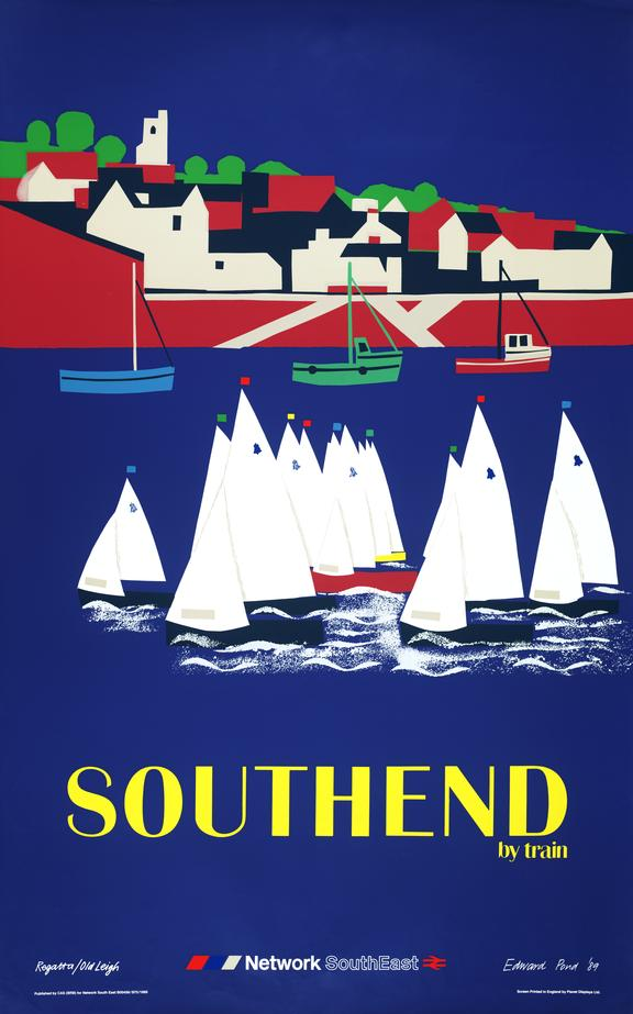 Poster, Southend by Train.1989. Yachts with quay and buildings in the background.
