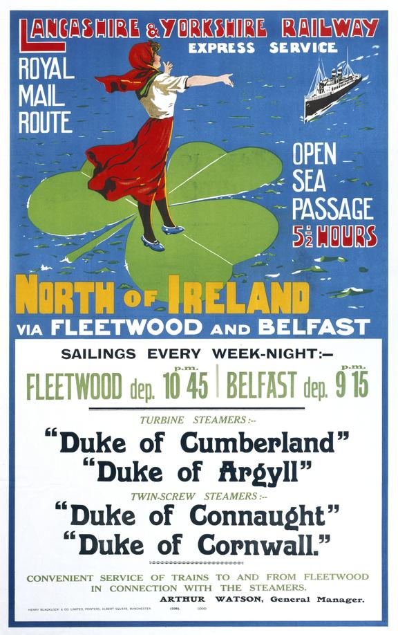 Poster, LYR, Royal Mail Route, North of Ireland via Fleetwood & Belfast