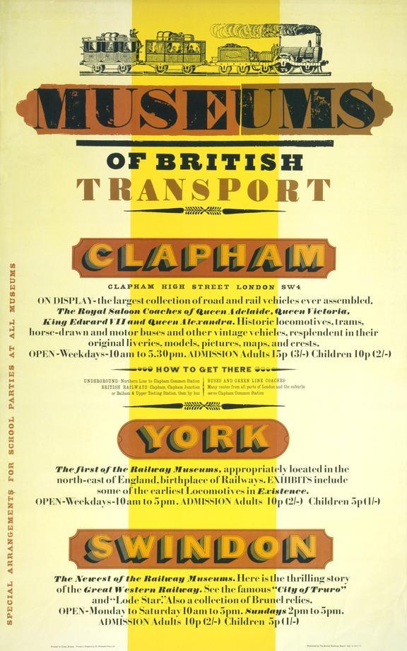 Poster. Museums of British Transport - Clapham, York, Swindon, 1971