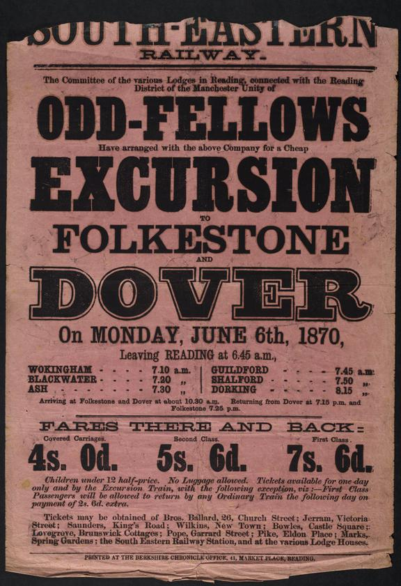 Notice, Odd-Fellows excursion to Folkstone and Dover. June 6th, 1870