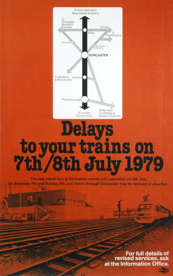 Poster, BR (ER). Delays to your trains on 7th/8th July 1979'