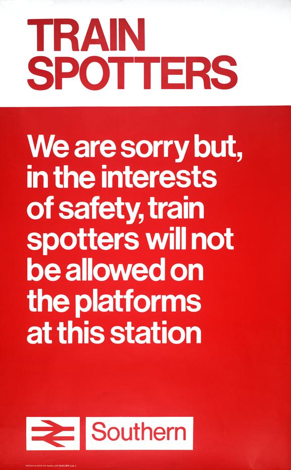 British Railways poster banning train spotters, 1978