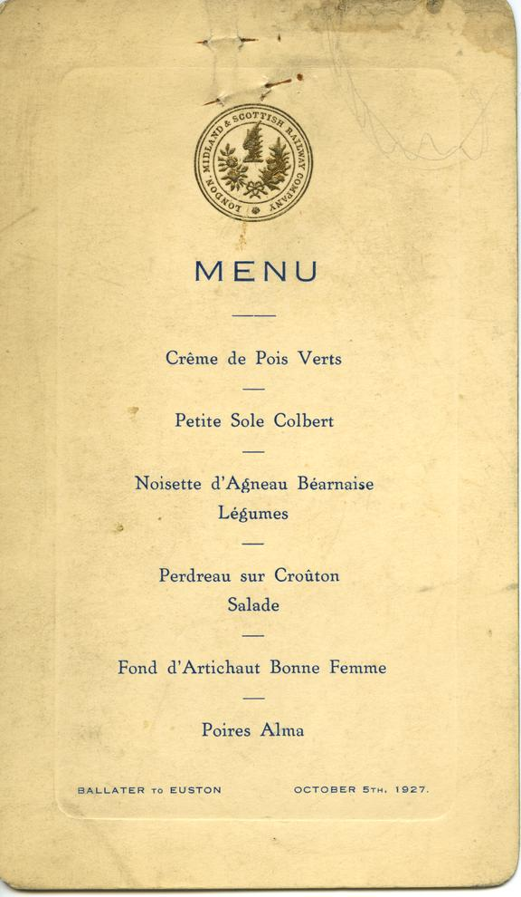 Menu Card, 1927,LMS. Luncheon on Ballater to Euston Journey