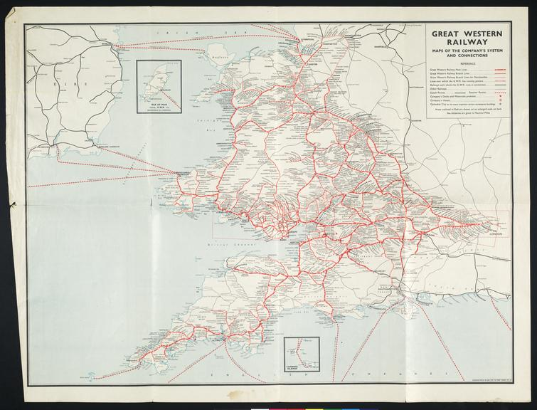 Map. Great Western Railway. Map of the company's system and connections.