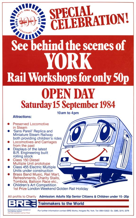 Poster, BR. Special Celebration! See Behind the Scenes of York Rail Workshops for only 50p