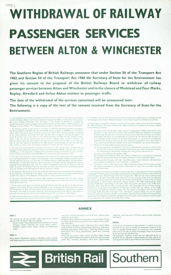 Poster, British Railways (Southern) 'Withdrawal of Railway Passenger Services between Alton and Winc