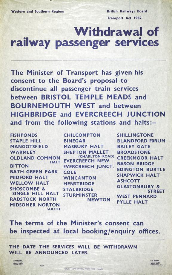 Notice, British Railways (Western Region & Southern Region), Proposed Withdrawal of Railway Passenge
