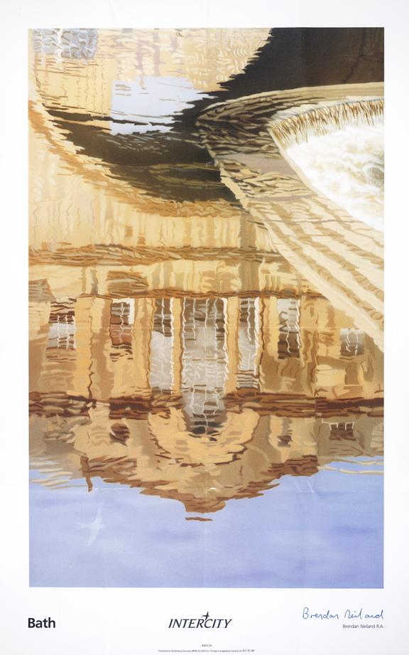 Poster; British Rail Intercity, Bath, reflections of Pulteney Bridge in the River Avon with Weir.