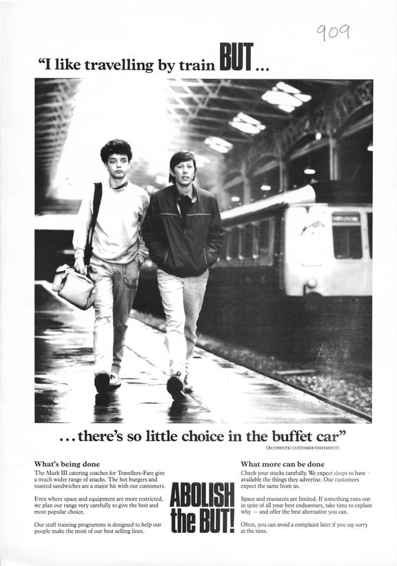 Poster, I like travelling by train BUT ... There's so little choice in the buffet car.