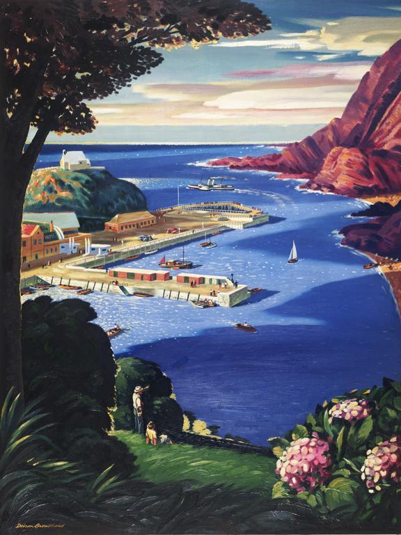Gouache painting, British Railways, original for railway poster by Dolson Broadhead, depicting view