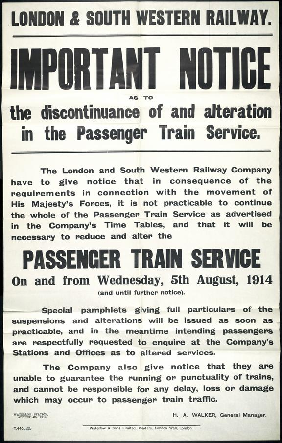 Poster, Discontinuance of and alteration in the Passenger Train Servive