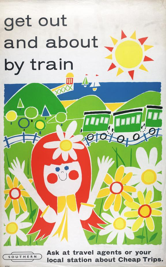 British Rail poster, Get out and about by train.