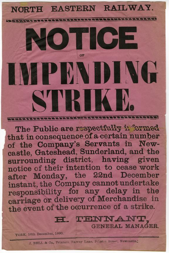 NER Strike notice, 1890