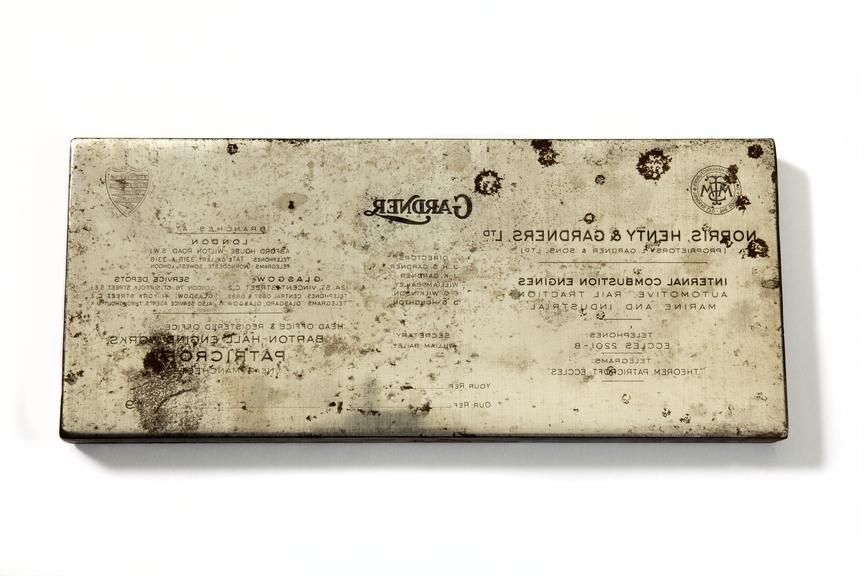 L. Gardner & Sons - letterhead printing block, c.1954-97, photographed from above on a white background.