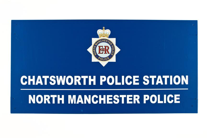 Police sign used in the making of shameless tv series..Sraight on view on a white background..